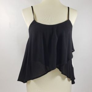 Tobi Black Cropped Layered Spaghetti Strap Top L